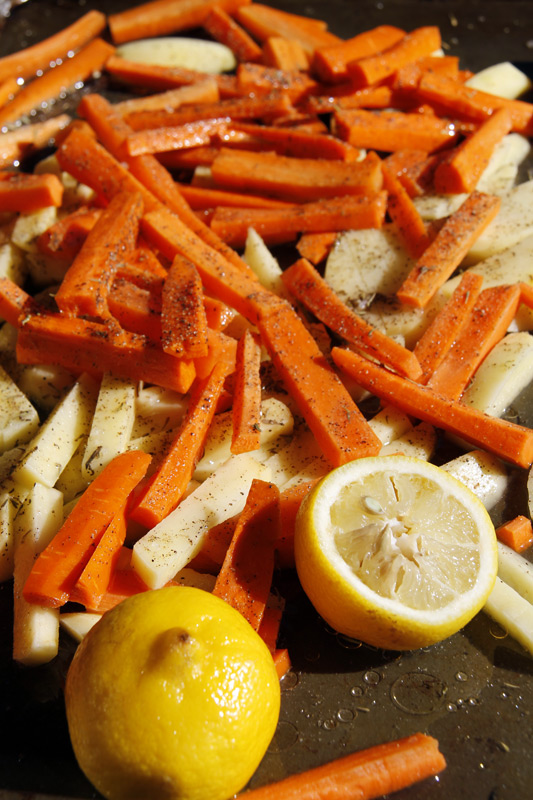 lemon pepper carrot and potato french fries