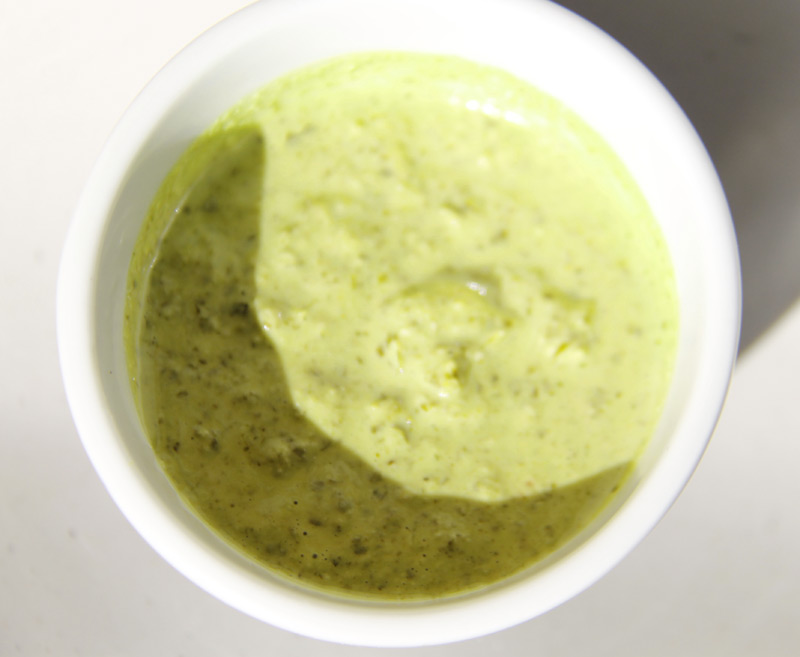 kale almond yogurt pesto dip for french fries