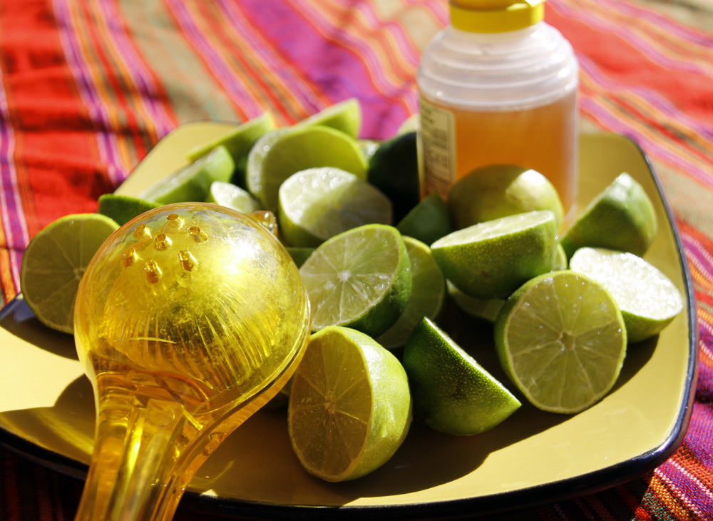 fresh limes and honey for limeade or agua de limon