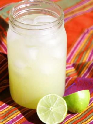 limeade agua de limon in jar