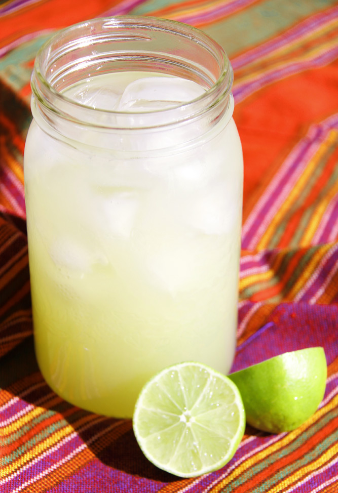 limeade agua de limon in jar