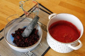 Setting up to make raspberry with blackberry jam
