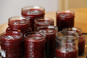 raspberry with blackberry jam – just filled jars