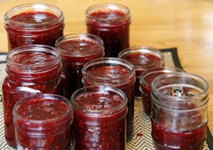 raspberry with blackberry jam - just filled jars