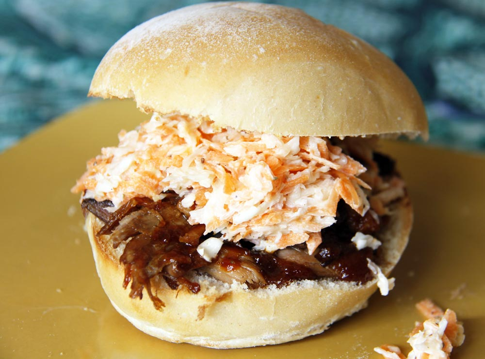 ready to eat pulled pork sandwich with coleslaw