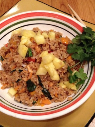 Fried basil rice with cashews