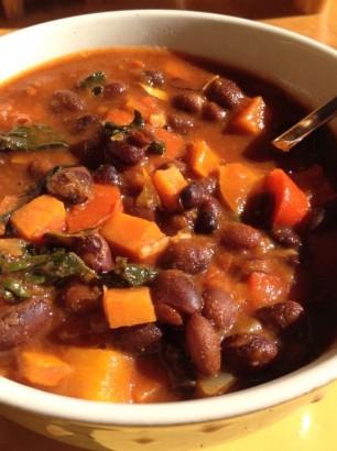 black bean vegan chili with sweet potato
