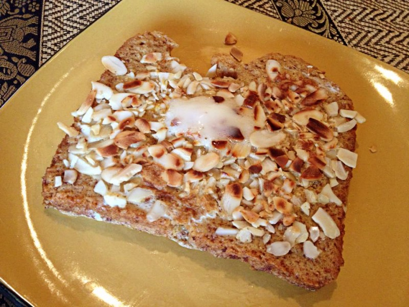 finished almond french toast with butter