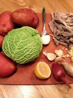 ginger cabbage potato soup recipe ingredients