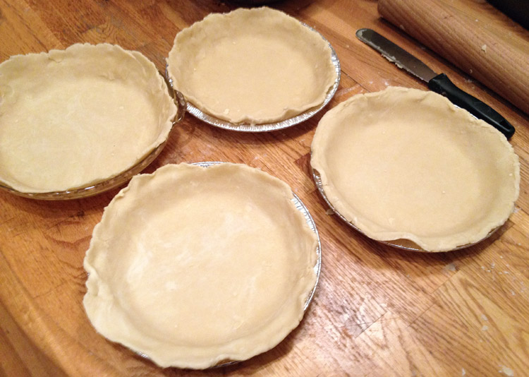 homemade shortening pie crusts