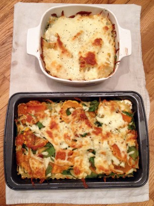 vegetarian roasted squash spinach lasagne