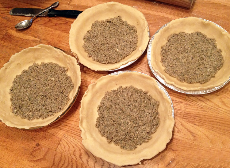 walnut sage parmesan pesto pie filling