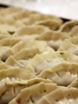 dumplings on tray